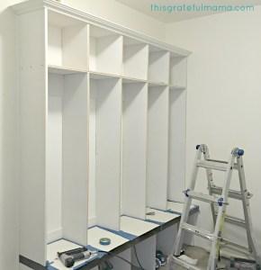 DIY Mudroom Bench and Lockers Reveal | thisgratefulmama.com