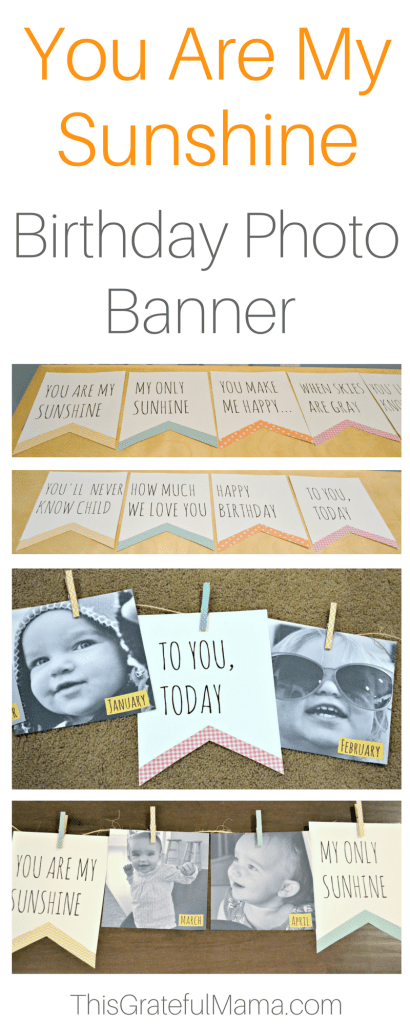 You Are My Sunshine Birthday Photo Banner | thisgratefulmama.com DIY Birthday Photo Banner for a child's You Are My Sunshine themed birthday party. Great personalized decoration idea. #diy #Doityourself #birthday #birthdayparty #youaremysunshine #birthdaydecorations #decorations #paperdecorations #girlbirthday #firstbirthday #secondbirthday #party #banner #photobanner #photo