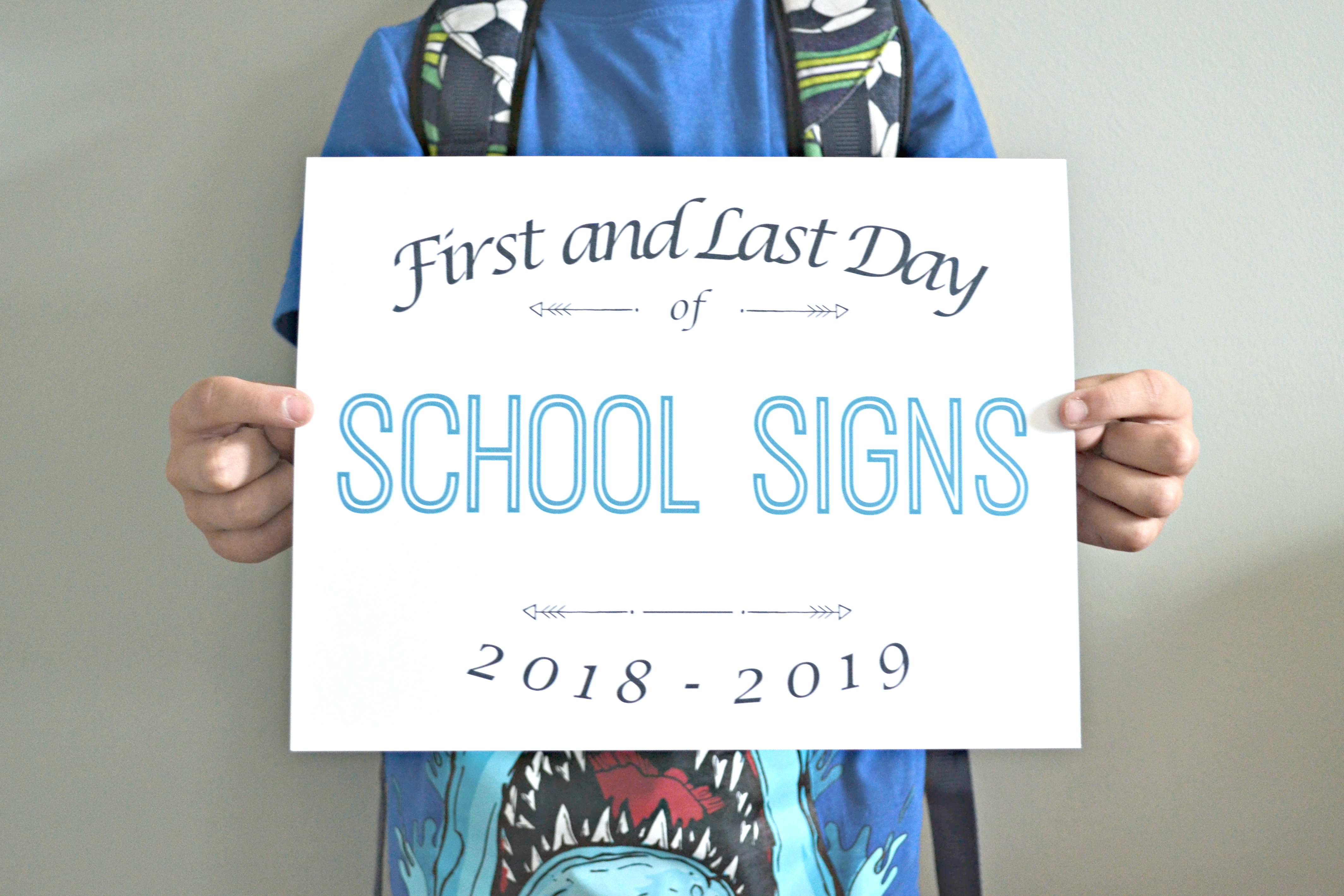 picture relating to Last Day of School Signs Printable named 2018-2019 Printable 1st and Remaining Working day of University Signs and symptoms