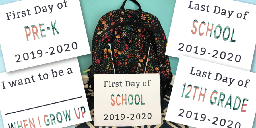 Printable First Day of School and matching Last Day of School Signs with subscription to This Grateful Mama | Thisgratefulmama.com #firstdayofschool #backtoschool #schoolsigns #schoolphoto #lastdayofschool #printable #freeprintable