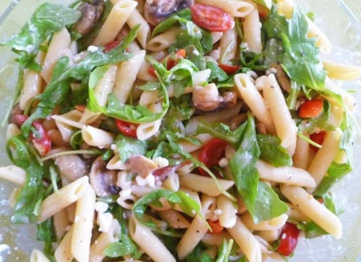 Warm Mushroom and Arugula Pasta Salad -- Peppery arugula, warm mushrooms, and juicy tomatoes make this pasta salad unforgettable. #pasta salad #low fat   thishappymommy.com