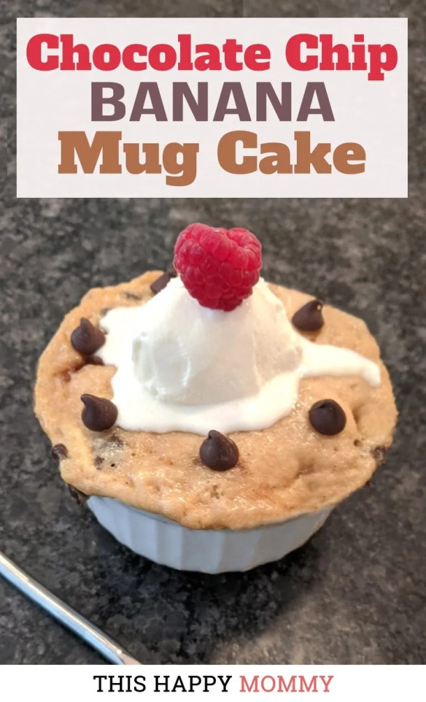 If you love bananas and chocolate this is the cake for you! Chocolate Chip Banana Mug Cake is a rich, decadently chocolatey, banana cake. And it's ready in only 5 minutes.| quick and easy dessert | healthy mug cake | thishappymommy.com