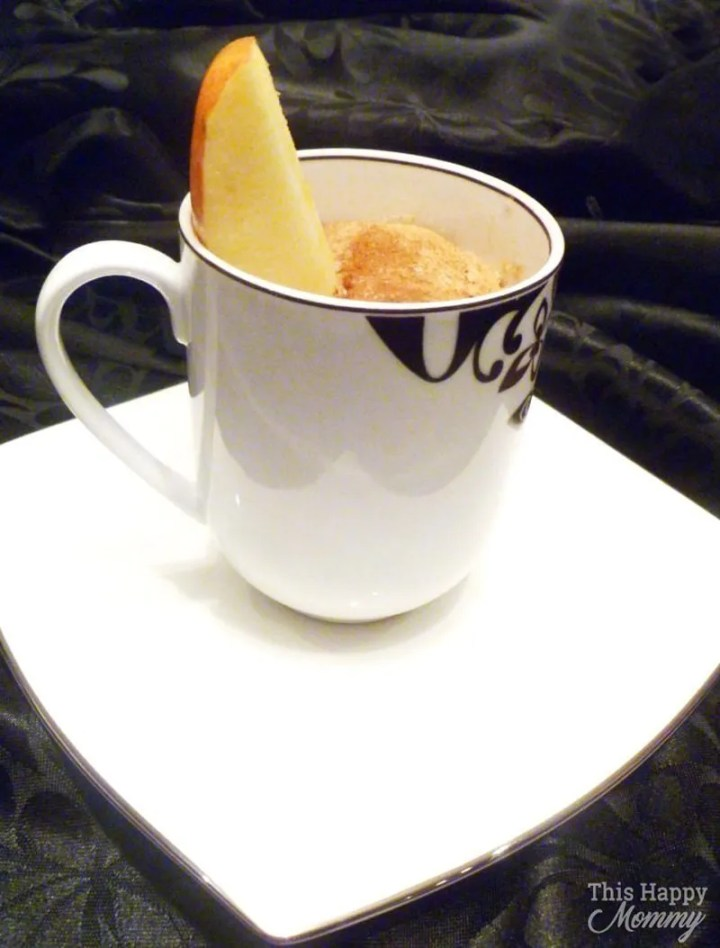 A perfectly spongy cake filled with all the flavors of baked apple pie. Apple Pie Spiced Mug Cake is a tasty single-serving cake that's ready in less than 5 minutes. Quick and Easy Dessert   5 minute Microwave Cake   thishappymommy.com