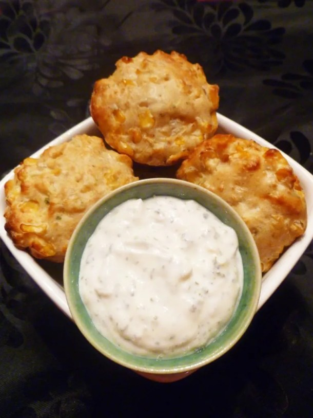 Corn Muffins with Creamy Lime Sauce