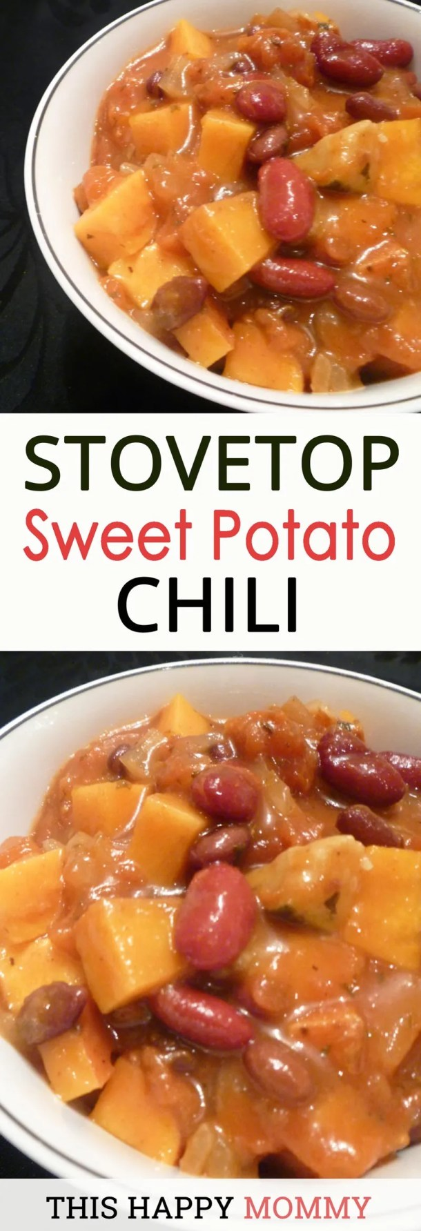 My family loves this chili! Sweet potatoes, beans, and a medley of vegetables in a rich tomato based sauce. Stovetop Sweet Potato Chili is the perfect warm-up dish for a cold night. high protein healthy eating vegetarian recipes | easy vegetarian recipes for kids | low fat vegan recipes | low carb vegetarian meals for weight loss | meatless monday | vegetarian recipes | healthy and easy family vegetarian meals | #recipes #vegetarian #chili #winterfood #fallfood | thishappymommy.com