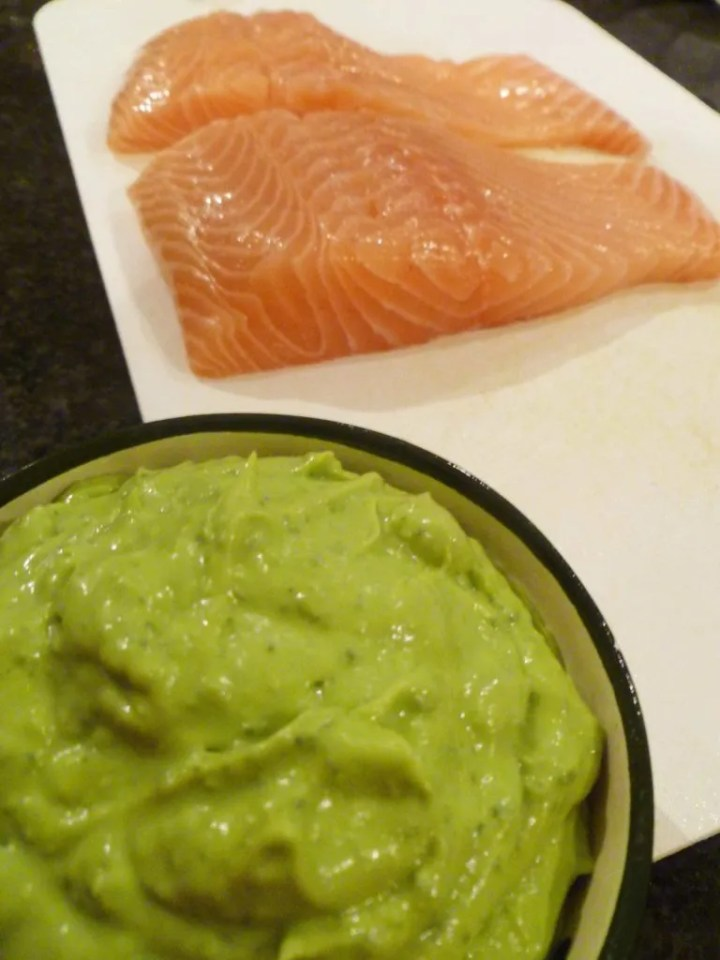 Salmon with Avocado Basil Sauce -- Amplify salmon's natural rich flavours with avocado and basil.   thishappymommy.com