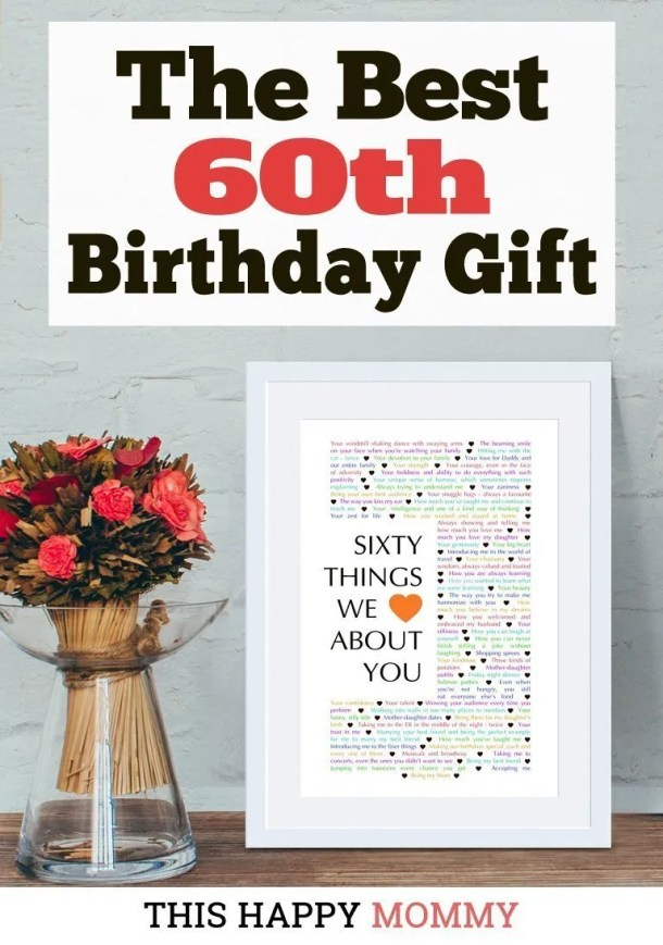 Looking for 60th birthday ideas? 60 Things We Love About You is the perfect gift for your mom, dad, husband, wife, or your friend. You can DIY a one-of-a-kind gift with all the reasons you love the birthday person. | DIY printable 60th birthday gift | Easy DIY gifts | Cheap DIY gifts | Unique DIY gifts | creative DIY gifts | DIY craft gifts | last minute gifts | | DIY birthday gifts | DIY birthday gifts for him | DIY birthday gifts for women | last minute birthday gifts | DIY party gift ideas | birthday party gift for adults | thishappymommy.com