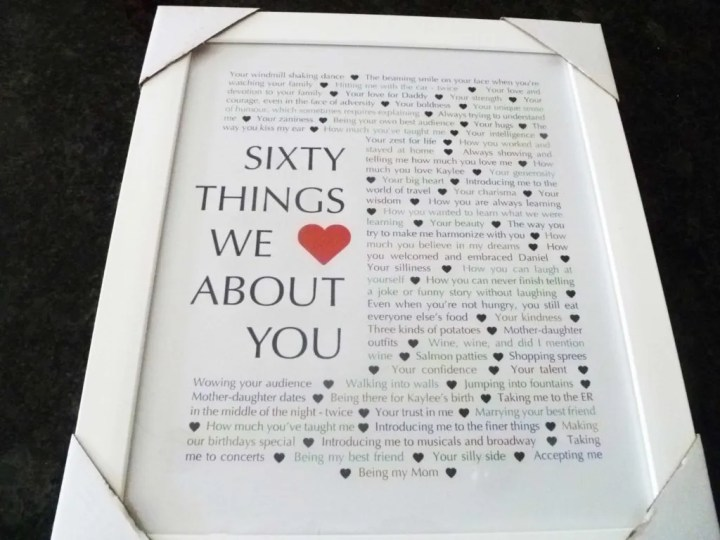 60 Things We {Love} About You -- The perfect homemade 60th birthday gift. | 60th birthday gift for dad | 60th birthday gift mom | birthday party gift for adults | the best 60th birthday gift #60birthday #birthdaygift | thishappymommy.com