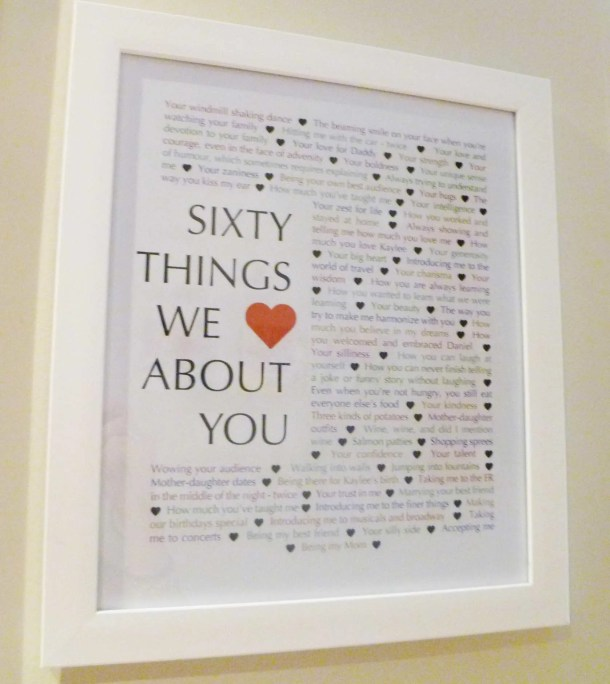 60 Things We Love About You - Things We Love About You Gifts are the perfect birthday or anniversary presents. | milestone birthday gifts | 60th birthday present | 60th birthday gift