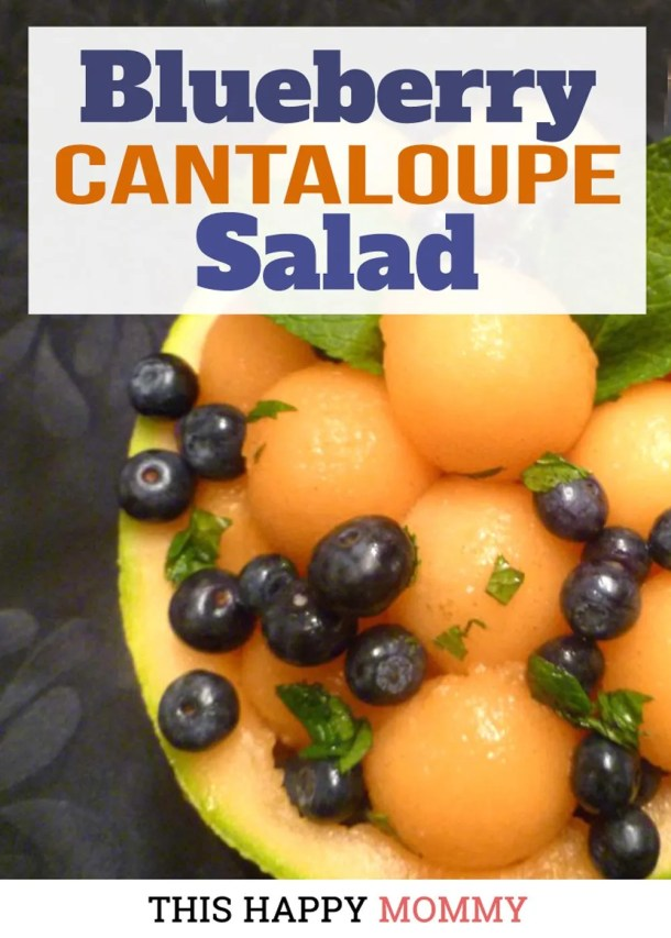 Give your fruit salad a boost of flavour! Blueberry Cantaloupe Salad is a lightly sweetened fresh summer salad served with a lime and maple syrup dressing. With a garnish of fresh mint, this is one refreshing salad. Healthy Clean Eating Salad Recipes | Healthy and Easy Salad | Clean Eating Desserts | Quick and Easy No Bake Desserts | #recipe #snack #fruitsalad #dessert #salad | thishappymommy.com