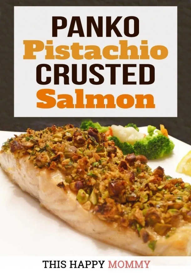 My family loves this quick and easy salmon dinner! Panko Pistachio Crusted Salmon is a flaky salmon fillet covered with a maple-sweetened, pistachio crust. Yum! | healthy fish recipes | healthy oven baked fish | easy baked salmon | healthy crispy baked fish | quick and easy baked fish | clean eating salmon recipes | #healthyrecipes #salmon #fish #dinner #cleaneating | thishappymommy.com