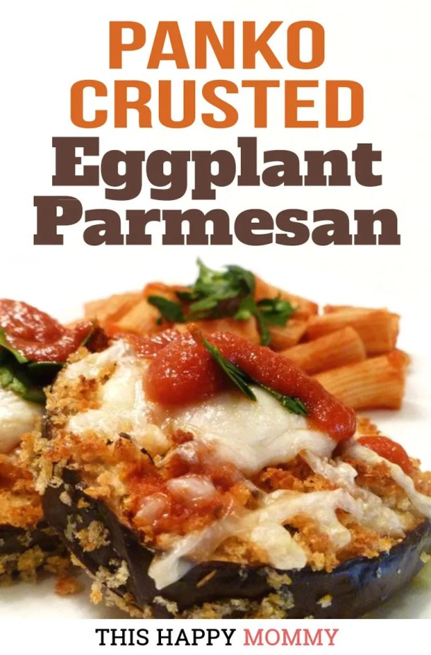 Light and crispy eggplant parmesan, baked to perfection in your oven. Panko Crusted Eggplant Parmesan has all the flavour of the classic dish, but it's baked instead of fried. | easy vegetarian recipes | low carb vegetarian meals | meatless monday recipes | #dinner #healthyfood #food #recipe | thishappymommy.com