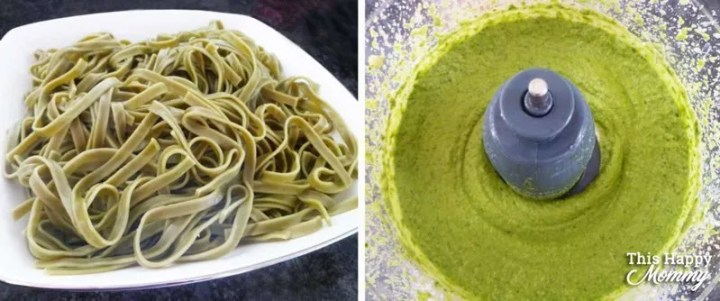 Packed full of avocados, spinach, basil, garlic, lemon, cottage cheese, and almonds. Creamy Avocado Spinach Pesto is as healthy as it is tasty. Everyone will enjoy this crowd-pleasing pasta dish with a herb and nutty flavour. | healthy pasta recipe | pesto pasta recipe | quick and easy pasta sauce | clean eating pesto pasta recipes | vegetarian pasta recipe | #recipe #healthyrecipe #pasta #pesto #pastarecipe #30minutemeal | thishappymommy.com