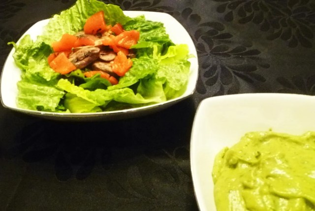 Sweet Avocado Basil Balsamic Salad -- Rich and creamy basil balsamic salad dressing made with avocados instead of olive oil. | thishappymommy.com
