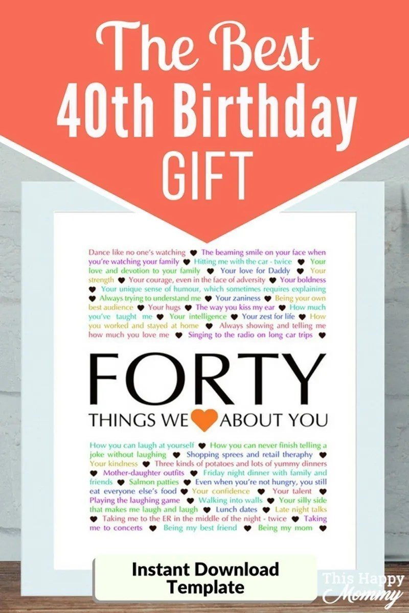 40 Things We Love About You The Best Homemade 40th Birthday Gift