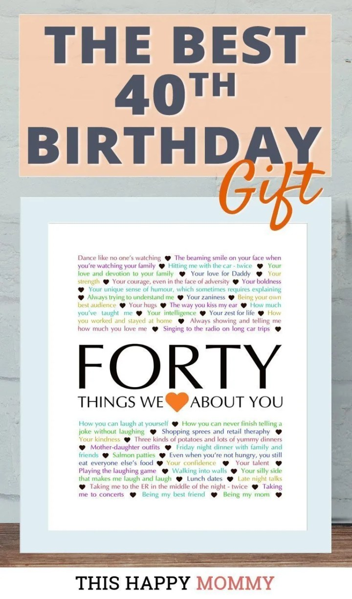 Looking for the perfect gift? Celebrate turning 40 years old with40 Things We {Love} About You. Fill it with all the reasons you love a special person. It's the best 40th birthday gift. #40birthday #gift #diy #birthdaygift #birthday | thishappymommy.com