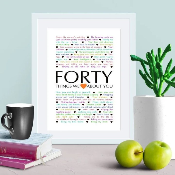 40 Things We {Love} About You -- Things We Love About You Gifts are the perfect birthday or anniversary presents. | milestone birthday gifts | 40th birthday gift | 40th birthday present | thishappymommy.com