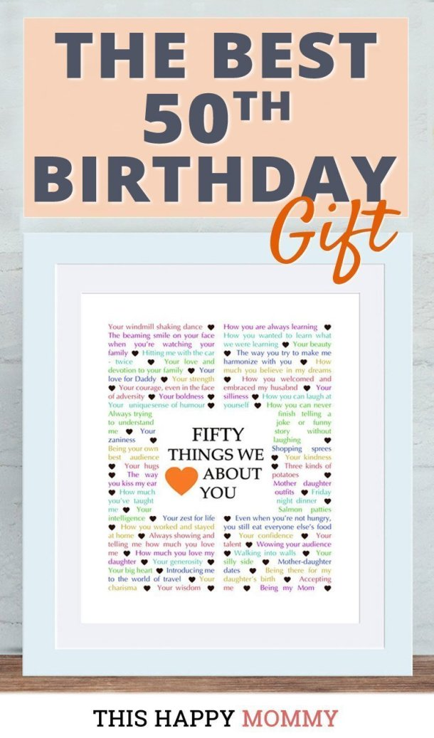 Looking for the perfect gift? Celebrate turning 50 years old with 50 Things We {Love} About You. Fill it with all the reasons you love a special person. It's the best 50th birthday gift. #50birthday #gift #diy #birthdaygift #birthday | thishappymommy.com