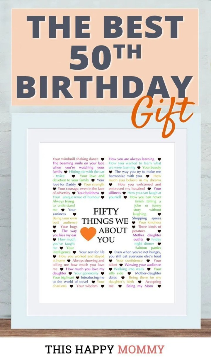 Looking for the perfect gift? Celebrate turning 50 years old with50 Things We {Love} About You. Fill it with all the reasons you love a special person. It's the best 50th birthday gift. #50birthday #gift #diy #birthdaygift #birthday | thishappymommy.com