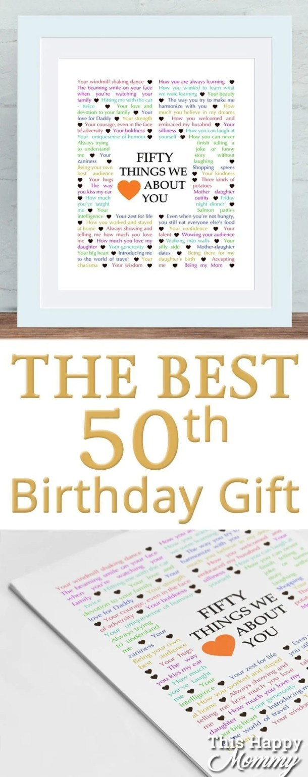 50 Things We Love About You -- The perfect homemade 50th birthday gift. | 50th birthday gift for dad | 50th birthday gift mom | birthday party gift for adults | the best 50th birthday gift #50birthday #birthdaygift #gift #diy | thishappymommy.com