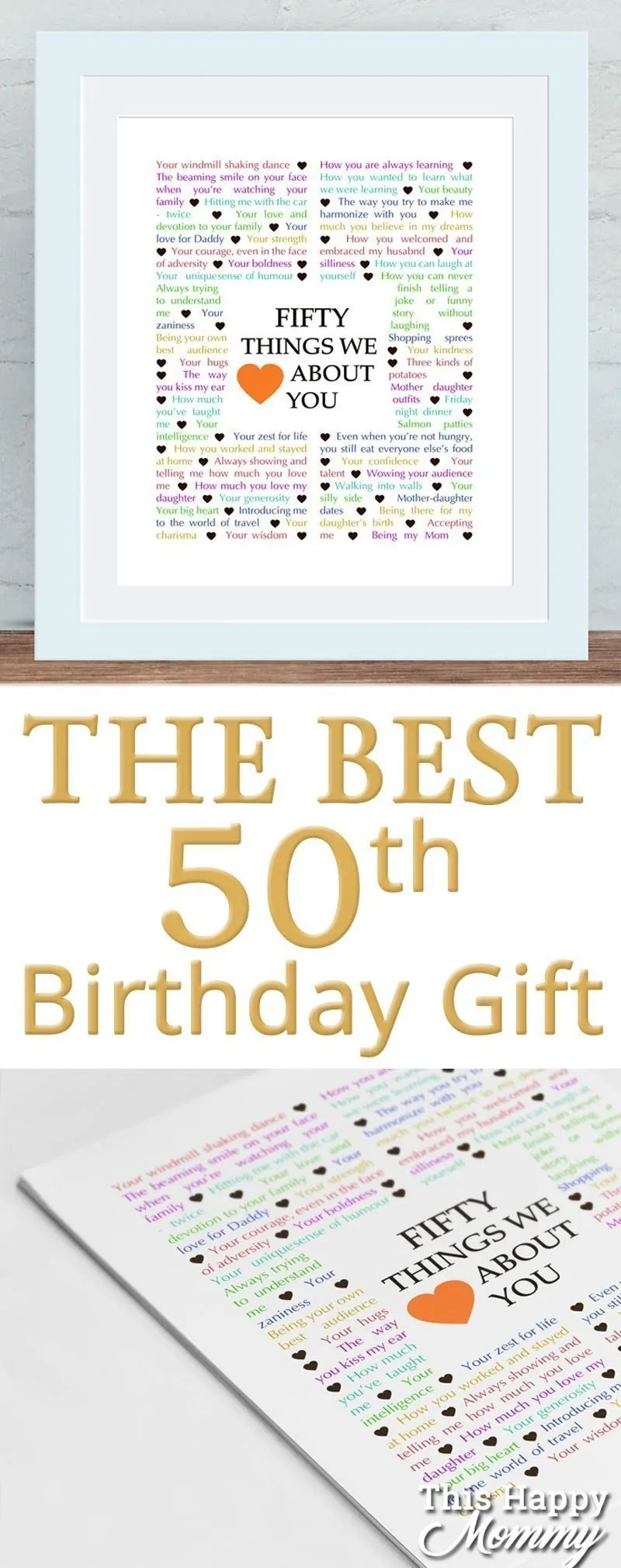 50 Things We Love About You The Perfect Homemade 50th Birthday Gift
