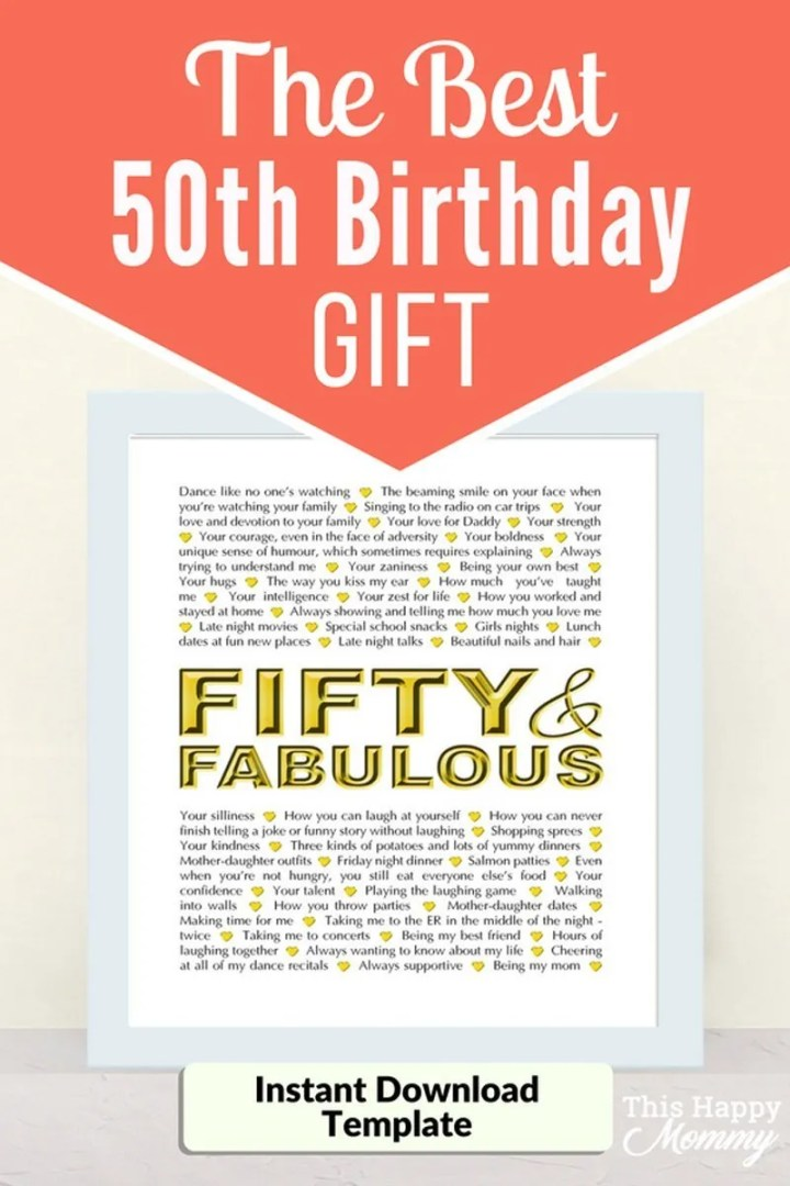 Fifty and Fabulous -- The best homemade 50th birthday gift. | 50th birthday gift for dad | 50th birthday gift mom | birthday party gift for adults | the best 50th birthday gift #50birthday #birthdaygift #gifts #diy | thishappymommy.com