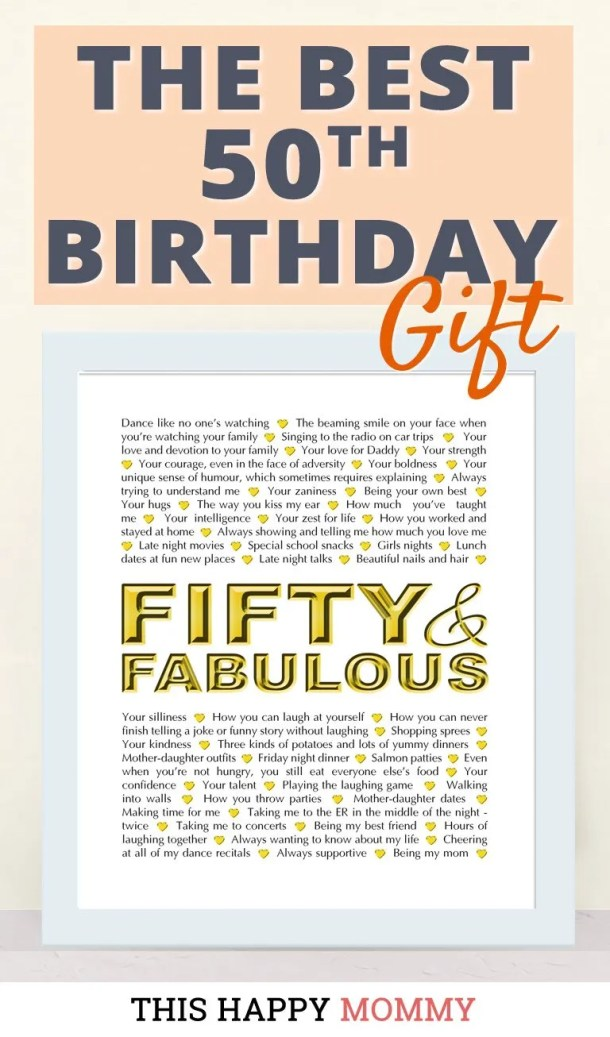 Looking for the perfect gift? Celebrate turning 50 years old with Fifty and Fabulous. Fill it with all the reasons you love a special person. It's the best 50th birthday gift. #50birthday #gift #diy #birthdaygift #birthday | thishappymommy.com