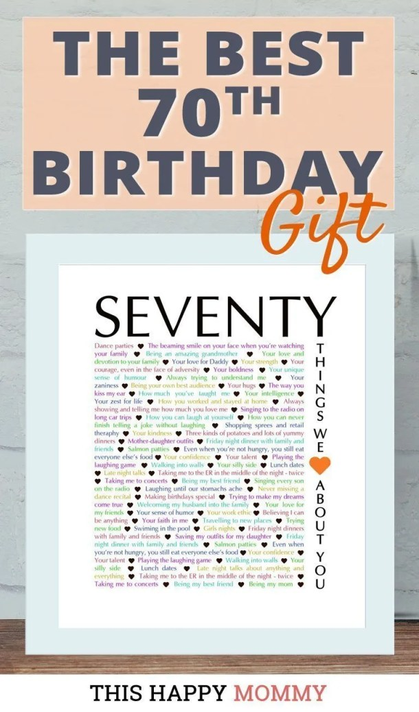 Looking for the perfect gift? Celebrate turning 70 years old with 70 Things We {Love} About You. Fill it with all the reasons you love a special person. It's the best 70th birthday gift. #70birthday #gift #diy #birthdaygift #birthday | thishappymommy.com#birthdaygift #birthday | thishappymommy.com