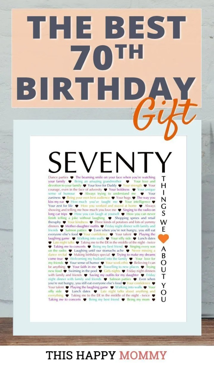 Looking for the perfect gift? Celebrate turning 70 years old with70 Things We {Love} About You. Fill it with all the reasons you love a special person. It's the best 70th birthday gift. #70birthday #gift #diy #birthdaygift #birthday | thishappymommy.com#birthdaygift #birthday | thishappymommy.com