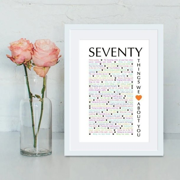 70 Things We {Love} About You milestone birthday gift | birthday present | birthday gift