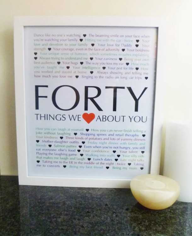 40 Things We Love About You - Milestone Birthday Gifts
