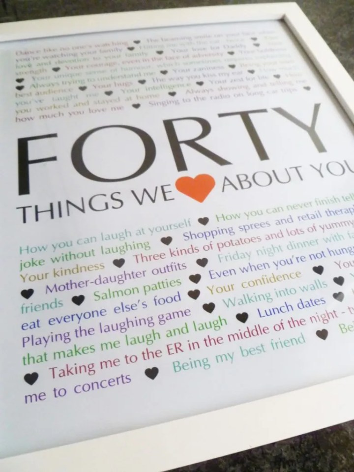 Milestone Birthday Gifts - 40 Things We {Love} About You -- Things We Love About You Gifts are the perfect birthday or anniversary presents. | 40th birthday present | 40th birthday gift | thishappymommy.com