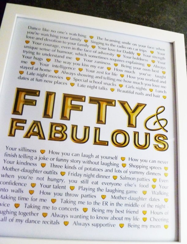 Milestone Birthday Gifts - Fifty and Fabulous -- Things We Love About You Gifts are the perfect birthday or anniversary presents. | 50th birthday present | 50th birthday gift | thishappymommy.com