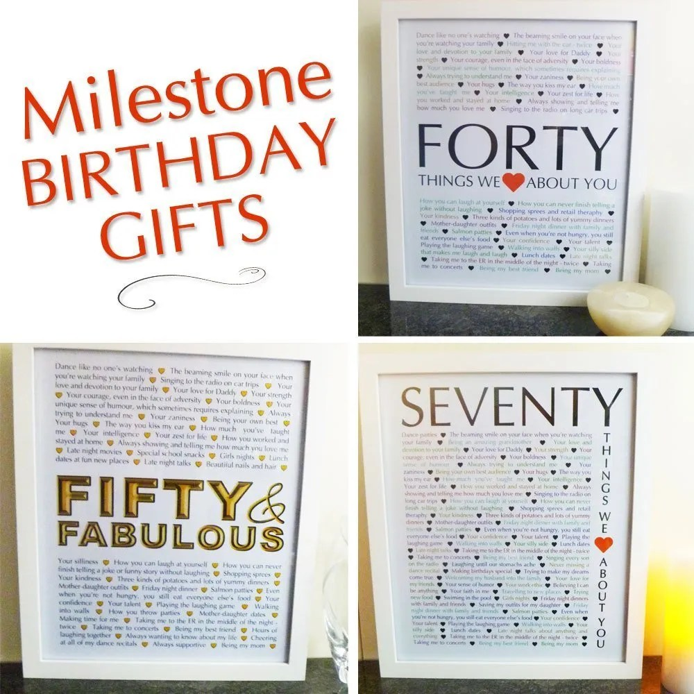 Milestone Birthday Gifts