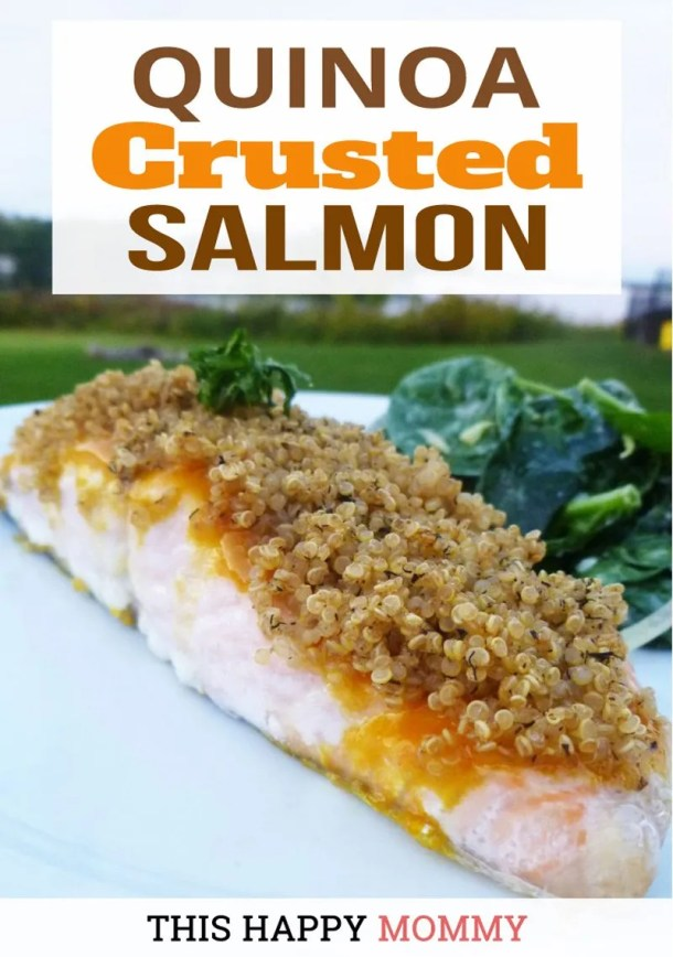 Quinoa Crusted Salmon -- Sweetened mustard glazed salmon with a crunchy, quinoa crust. Quinoa Crusted Salmon is a quick and easy recipe ready in 30 minutes. | easy baked salmon | quick and easy salmon recipe dinners | healthy oven baked fish recipes |  #recipes #dinner #salmon #fish #healthyrecipes | thishappymommy.com