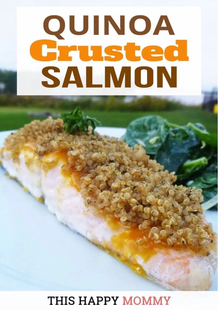 Quinoa Crusted Salmon -- Sweetened mustard glazed salmon with a crunchy, quinoa crust.Quinoa Crusted Salmon is a quick and easy recipe ready in 30 minutes. | easy baked salmon | quick and easy salmon recipe dinners | healthy oven baked fish recipes |  #recipes #dinner #salmon #fish #healthyrecipes | thishappymommy.com