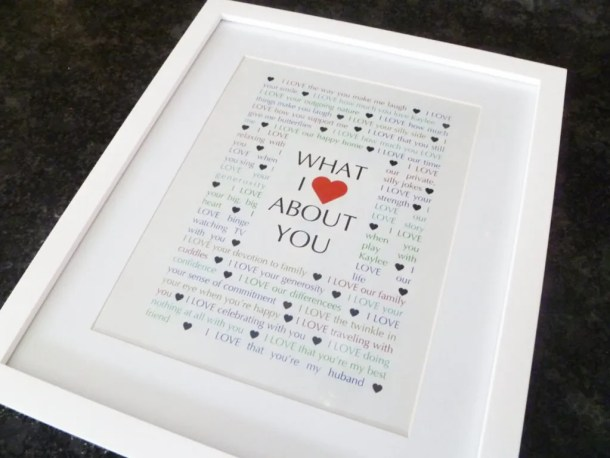 What I Love About You -- A sentimental gift for a birthday, an anniversary, or any special day. | thishappymommy.com