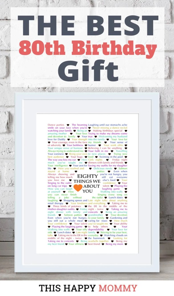 Looking for the perfect gift? Celebrate turning 80 years old with 80 Things We {Love} About You. Fill it with all the reasons you love a special person. It's the best gift for a 80th birthday. #80birthday #gift #diy #birthdaygift #birthday | thishappymommy.com