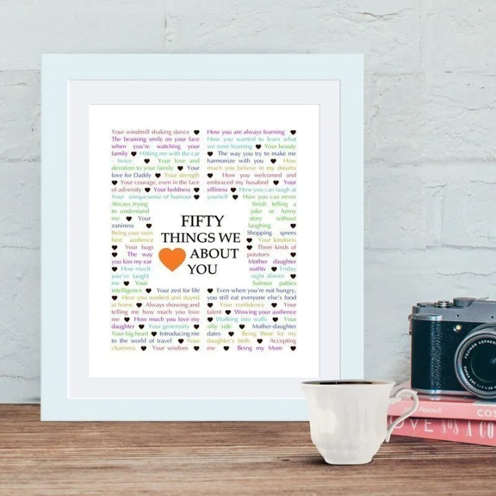 50 Things We {Love} About You | milestone birthday gift | birthday present | birthday gift