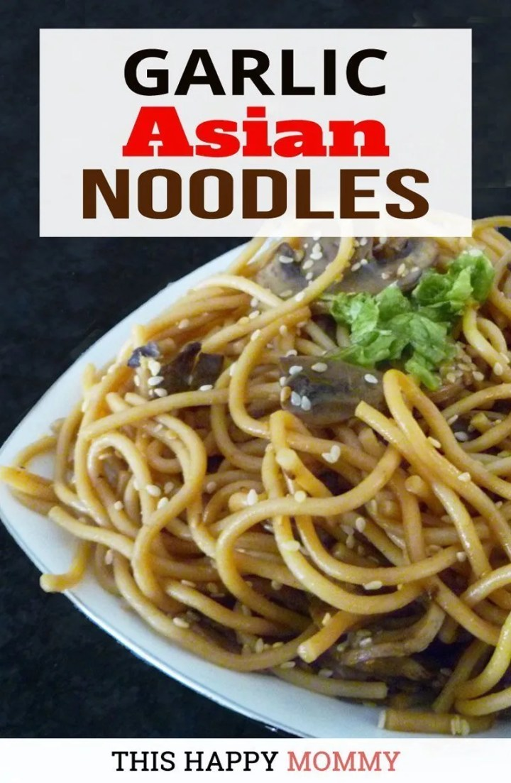 Quick and easy Asian-inspired noodle recipe. Garlic Asian Noodles is filled with mushrooms, garlic, and a lightly sweetened sauce, this is one delicious dish.   Simple Pasta Recipe Side Dish   Healthy and Easy Noodle Recipes   Asian Noodle Recipes     Simple Stir-fry Pasta Recipes   Healthy One Pot Pasta Recipes   #healthyrecipe #recipe #noodle #pasta #asiannoodle   thishappymommy.com