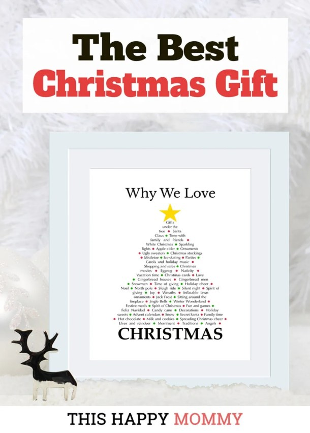 Why We Love Christmas is a heartfelt gift filled with all the reasons to love this festive time of year. It's the perfect gift for the sentimental person in your life. The best homemade Christmas gift. | Christmas gift for dad | Christmas gift for mom | Christmas party gift for adults | the best Christmas gift #Christmas #Christmasgift #gift #diy | thishappymommy.com