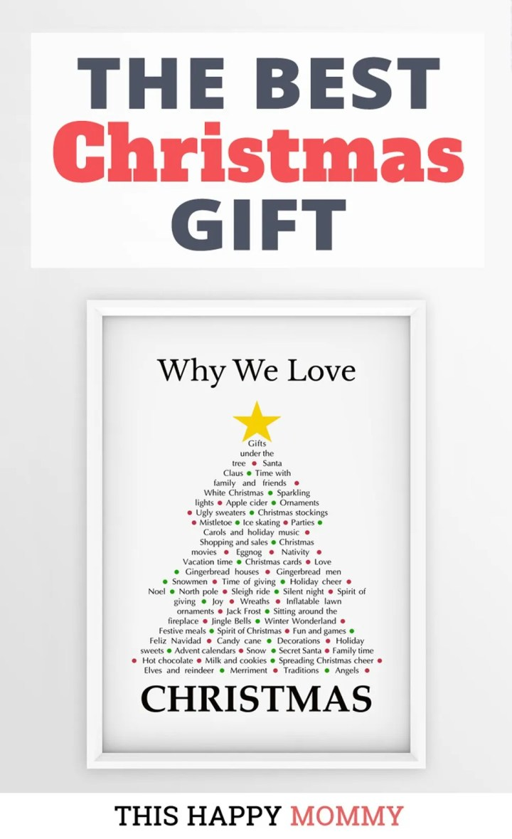 Why We Love Christmas is a heartfelt gift filled with all the reasons to love this festive time of year. It's the perfect gift for the sentimental person in your life.The best homemade Christmas gift. | Christmas gift for dad | Christmas gift for mom | Christmas party gift for adults | the best Christmas gift #Christmas #Christmasgift #gift #diy | thishappymommy.com
