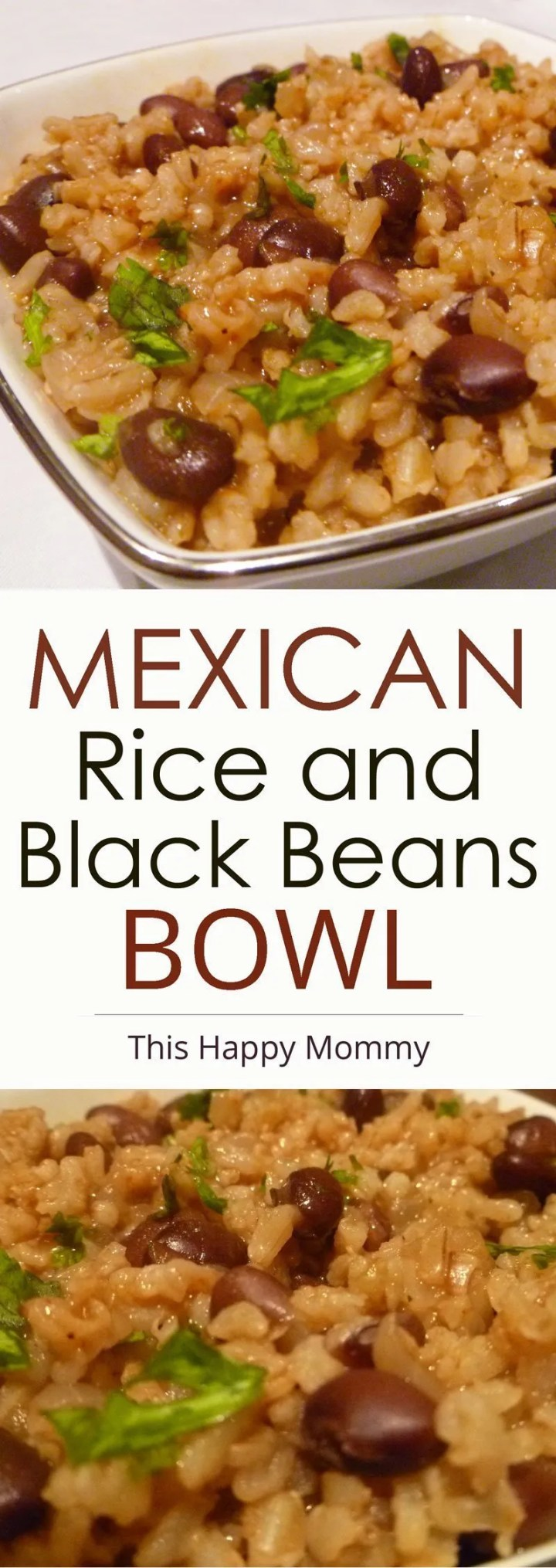 Mexican Rice and Black Beans Bowl -- A one-pot vegetarian meal that's sure to impress. Made with onions, garlic, beans and onions, this tasty meal is satisfying and delicious. Healthy Clean Eating | One Pot Meals | Healthy Vegetarian Dinner Recipes | Quick and Easy Meatless Monday | Rice Recipe for Dinner | #meatlessmonday #rice #dinnerrecipes #dinner #recipe | thishappymommy.com