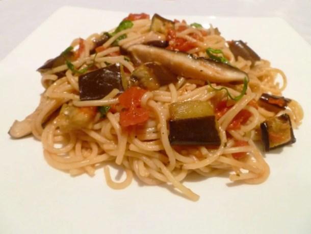 Roasted Veggie Pasta -- Fresh tasting pasta made with roasted eggplant, shitake mushrooms, and tomato sauce. | thishappymommy.com