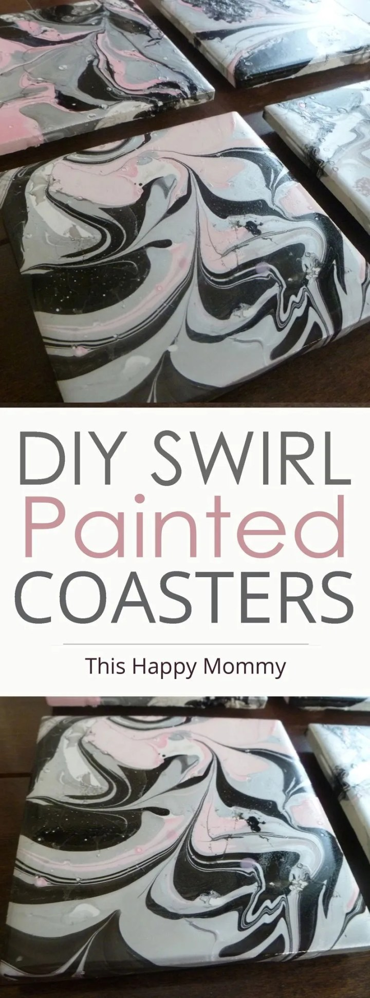 DIY Swirl Painted Coasters -- With a swirl painted design, these DIY coasters are decorated with nail polish. | Cheap and Easy DIY Home Decor | Easy DIY gifts | Cheap DIY gifts | Unique DIY gifts | Creative DIY Gifts | DIY Crafts Gifts | #diy #gifts #crafts #howto #homedecor | thishappymommy.com