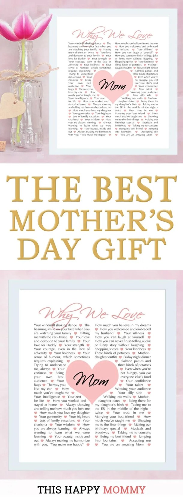 Mom loves you unconditionally. Give mom a gift that tells her all the reasons you love her with Why We Love Mom. | why we love mom gift |mother's day gift |birthday gift for mom | Easy DIY gifts | Unique DIY gifts | creative DIY gifts | birthday party gift for adults | #gifts #diy #mothersday #birthdaygift | thishappymommy.com