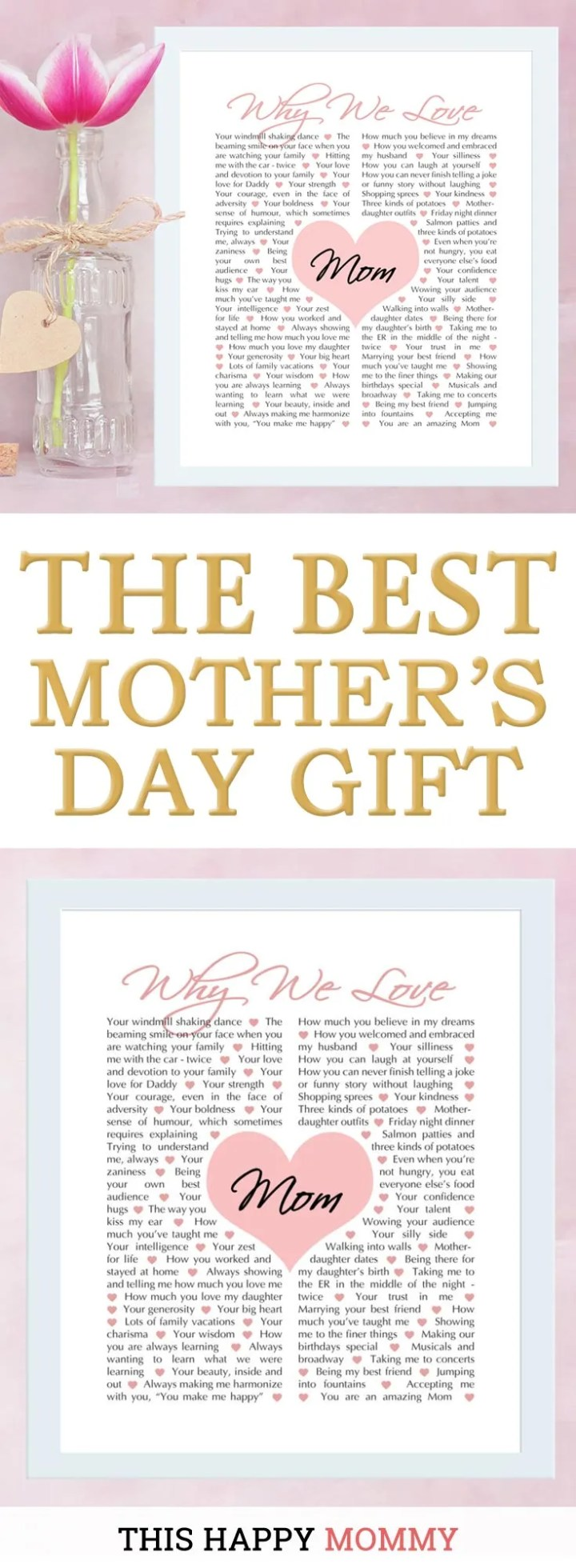 Mom loves you unconditionally. Give mom a gift that tells her all the reasons you love her with Why We Love Mom.   why we love mom gift  mother's day gift  birthday gift for mom   Easy DIY gifts   Unique DIY gifts   creative DIY gifts   birthday party gift for adults   #gifts #diy #mothersday #birthdaygift   thishappymommy.com