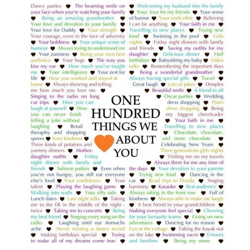 100 things we love about you