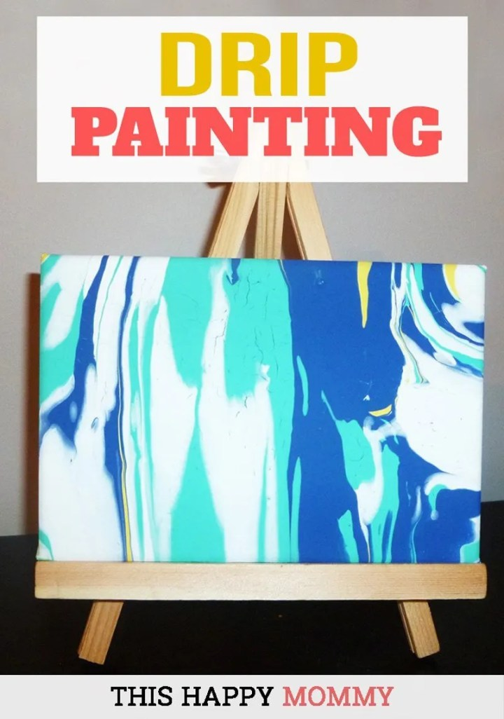 Dripping paint has never been more fun!Drip Painting is a wonderful kid-friendly craft that anyone can enjoy. | Easy DIY gifts | Cheap DIY gifts | Unique DIY gifts | creative DIY gifts | DIY craft gifts | last minute gifts | fun DIY crafts for kids to make at home | fun crafts for kids gifts projects | kids crafts gifts for parents, grandparents, moms, and dads | simple kids craft gifts ideas | fun crafts for kids to make with free printables | dollar store crafts for kids activities | easy DIY kids crafts ideas | easy kids crafts for boys and girls | #craftsforkids #painting #crafts #diy #homedecor | thishappymommy.com