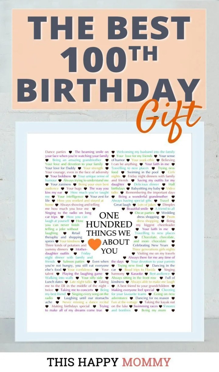 Looking for the perfect gift? Celebrate turning 100 years old with100 Things We {Love} About You. Fill it with all the reasons you love a special person. It's the best gift for a 100th birthday. #100birthday #gift #diy #birthdaygift | thishappymommy.com